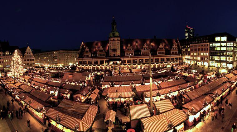 Leipziger Weihnachtsmarkt am Marktplatz am Alten Rathaus.