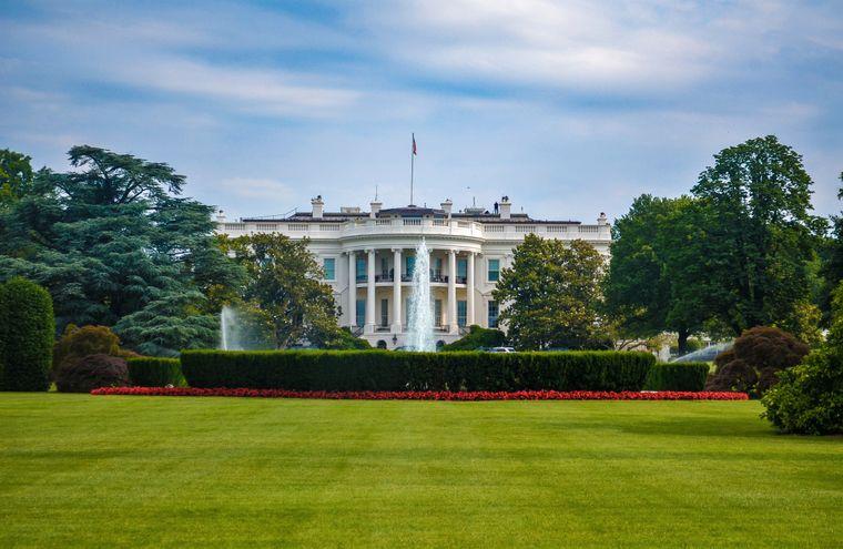 Blick aufs Weiße Haus, Washington D.C., USA.