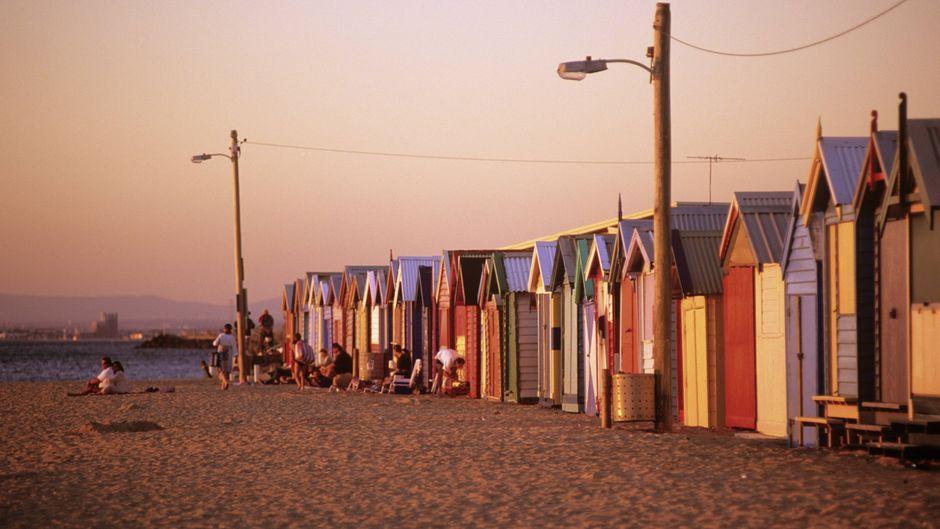 Bunte Häuser am Brighton Beach in Melbourne