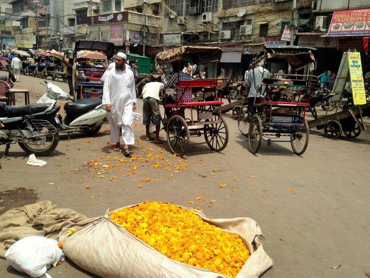 Orientalische Gerüche umhüllen dich auf Gewürzmärkten in Delhi.