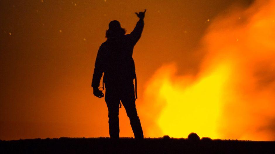Beliebtes Motiv: Ein Foto am Vulkan Kilauea.