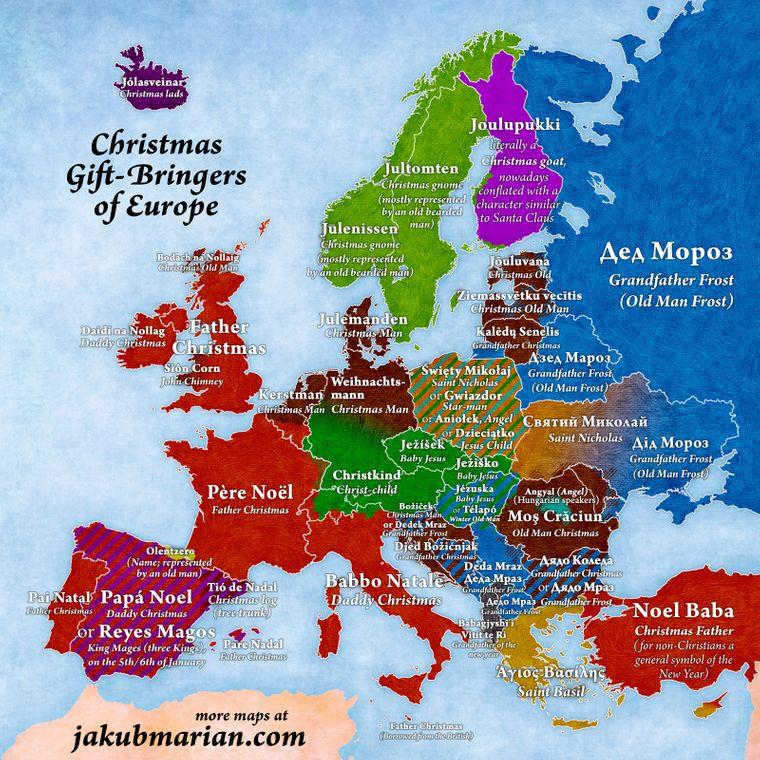Wer bringt die Geschenke in Europa? Das zeigt dir die Karte.