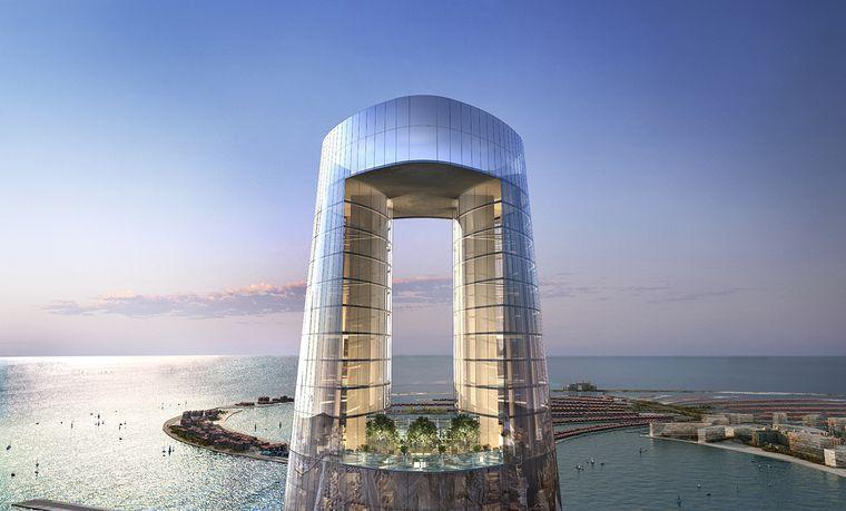 Im oberen Bereich des Towers befindet sich eine Bar samt Pool mit Ausblick auf Dubai.