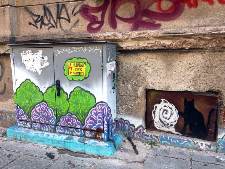 Die bunten Kunstwerke stechen in den teilweise schäbigen Ecken der Stadt heraus.