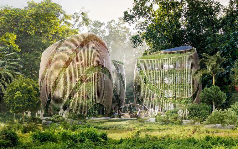 Das einzigartige Projekt Living The Noom überzeugte mit den dreieckigen Bambushäusern ebenso wie mit dem satten Grün, das die Häuser umgibt.