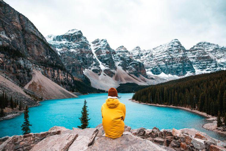 Moraine Lake im Banff-Nationalpark, Kanada.