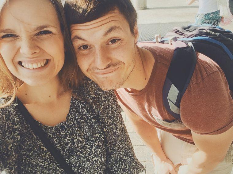 Selfie von Lena Pres und ihrem Freund Oleg vor der Weltreise