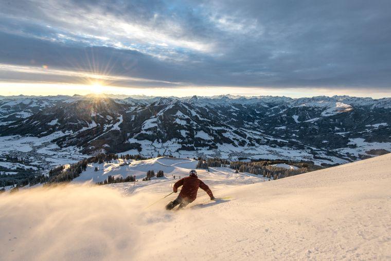 In der Skiwelt Wilder Kaiser-Brixental gibt es 21 Talabfahrten.
