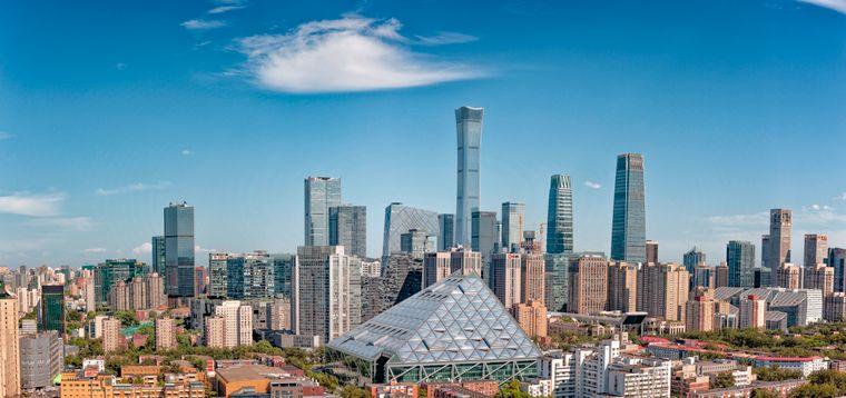 In der Skyline von Peking ist der Citic Tower deutlich zu erkennen: Er überragt alle anderen Gebäude in der Stadt.
