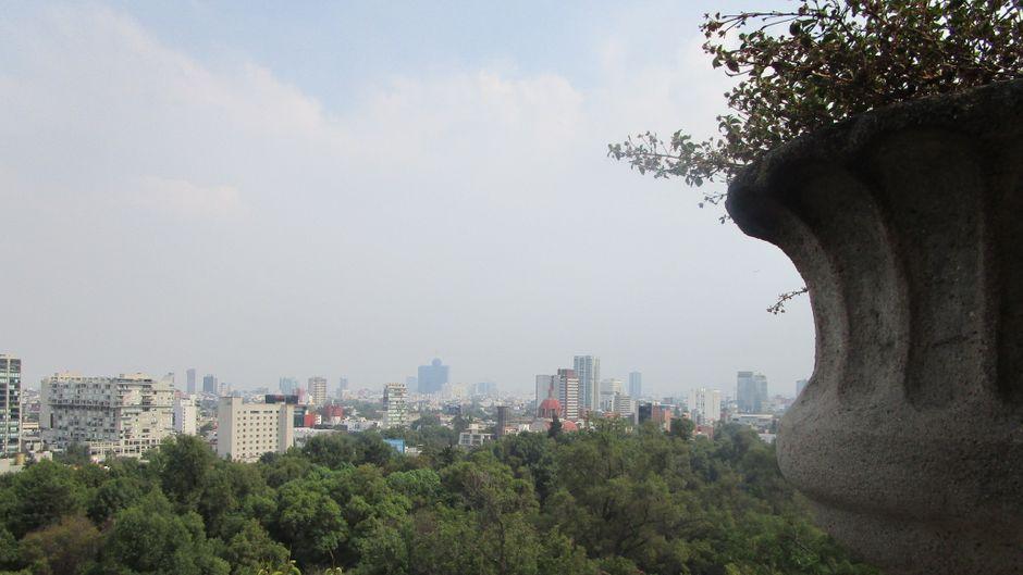 Vom Bosque de Chapultepec hast du einen spektakulären Ausblick auf das Zentrum von Mexiko-Stadt.