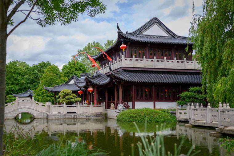 Chinesisches Teehaus im Luisenpark in Mannheim.