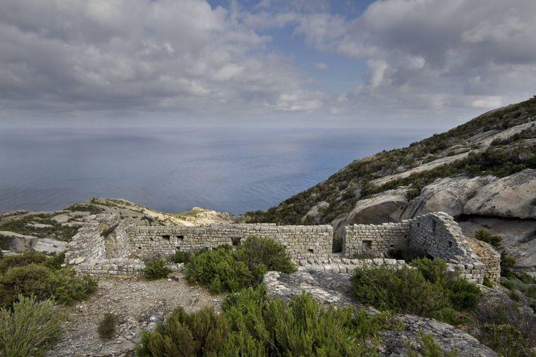 Blick über die Insel Montecristo mit der Ruine des Klosters.