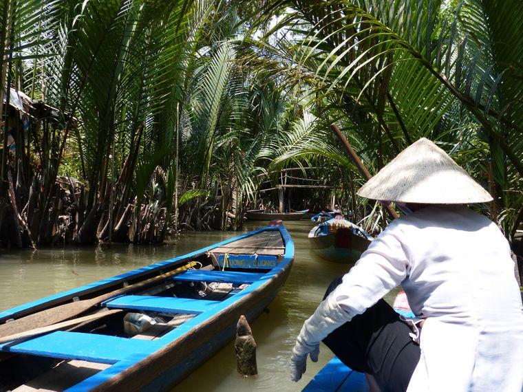 Ein Flussarm in Mekong Delta