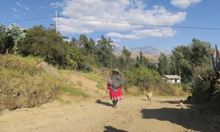 Eine Andenbewohnerin trägt traditionelle Kleidung: buntes Kleid und Hut.