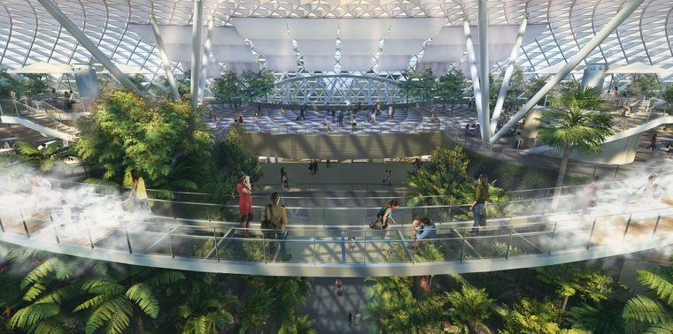 Die Brücke im geplanten Canopy Park im Flughafen Singapur.
