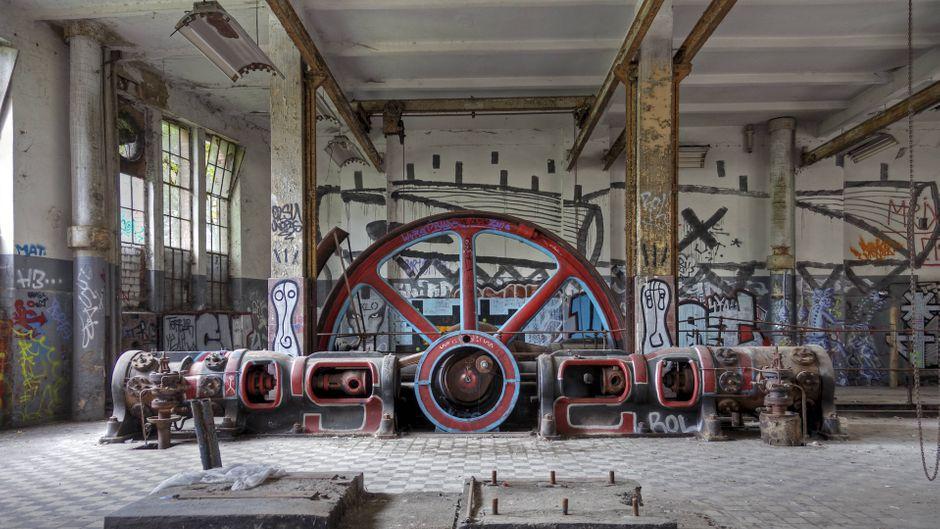 Schwungrad der Eisfabrik in Berlin.