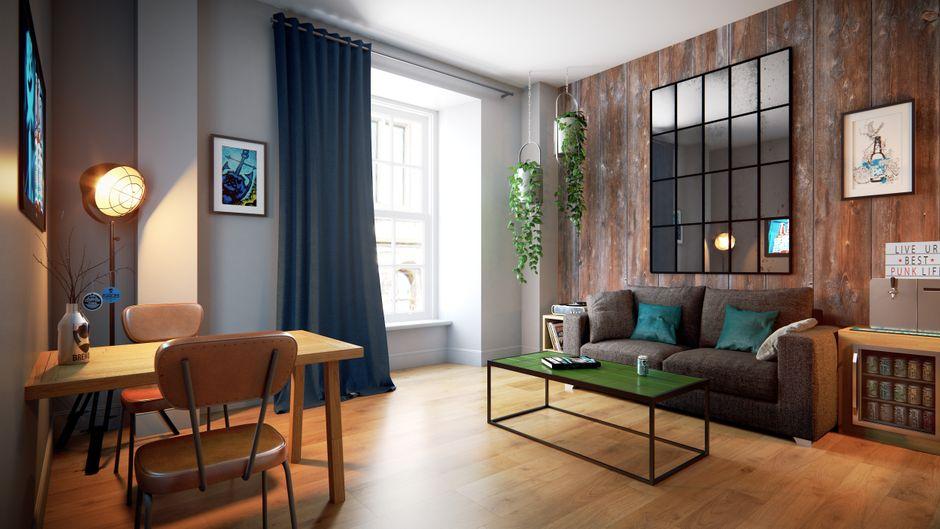 Zimmer im DogHouse Hotel – mit Zapfhahn.
