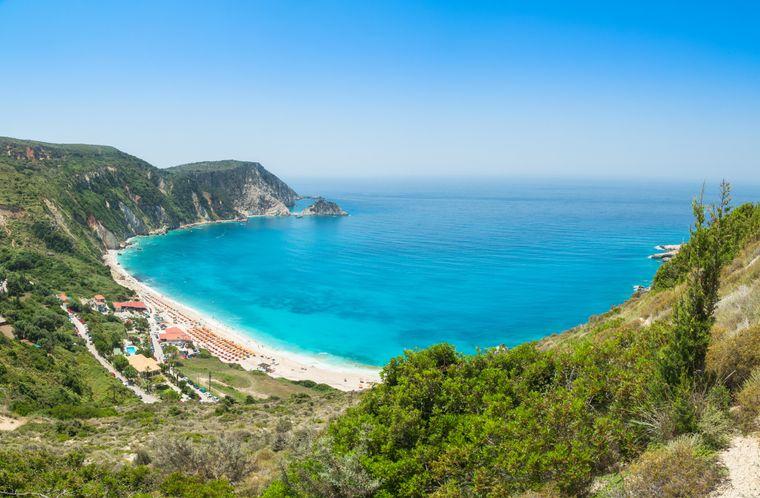 Der Strand Myrtos zählt zu den schönsten der Insel Kefalonia.