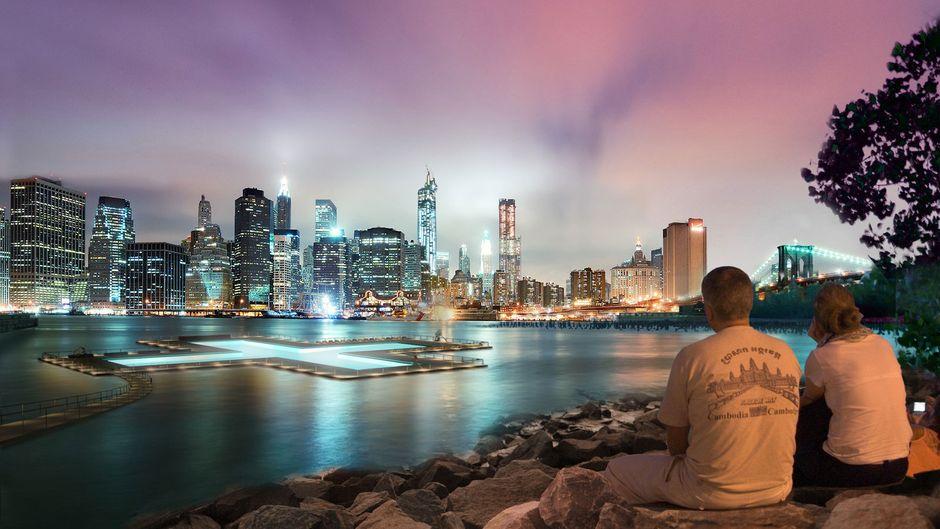 """So schön könnte der """"+Pool"""" auf dem East River bei Sonnenuntergang wirken."""