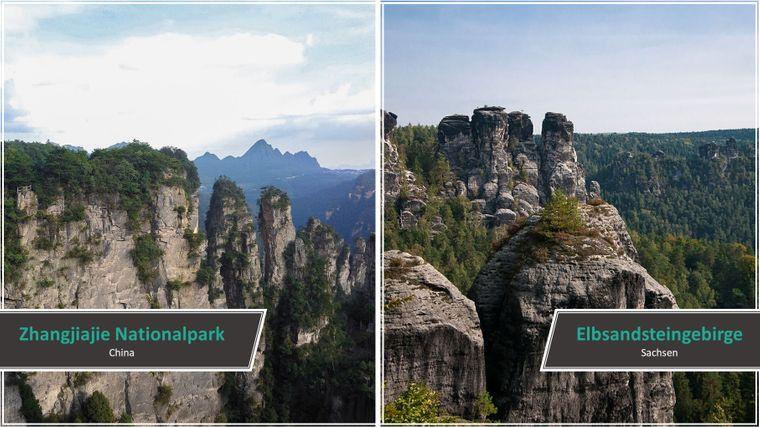 Eine Kulisse hoher, säulenartiger Berge finden Besucher im chinesischen Zhangjiajie-Nationalpark vor. Stark abfallende Klippen gibt es aber auch in der Sächsischen Schweiz. Das Elbsandsteingebirge verspricht atemberaubende Aussichten.