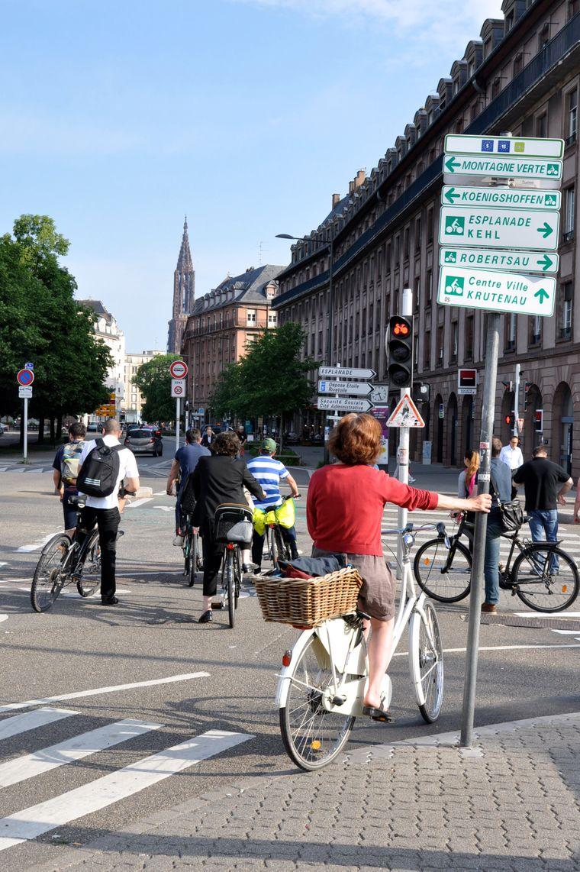 Die Fahrradwege in Straßburg sind gut ausgeschildert.