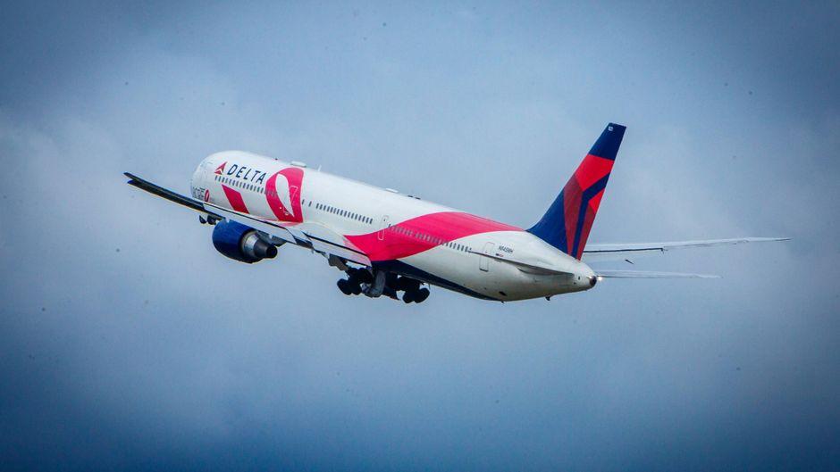 Ein Flugzeug der Linie Delta Airlines in der Luft