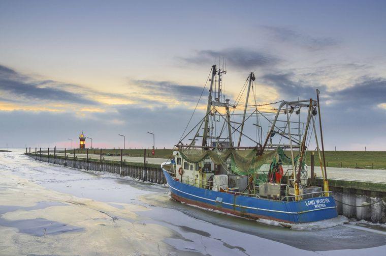 Kutter im Hafen bei Eis in Wremen.