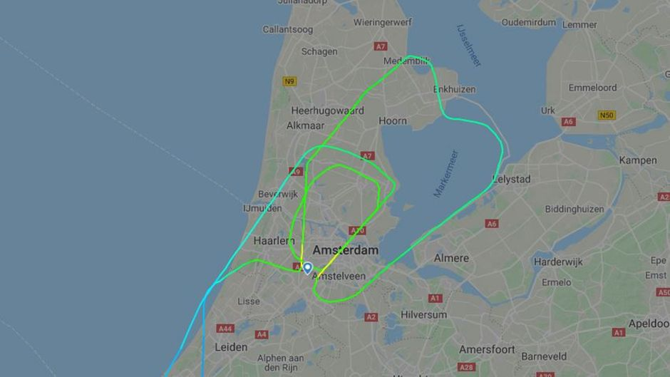 Route des Fluges UX 1093 mit Air Europa von Madrid nach Amsterdam am 9. Februar 2020.