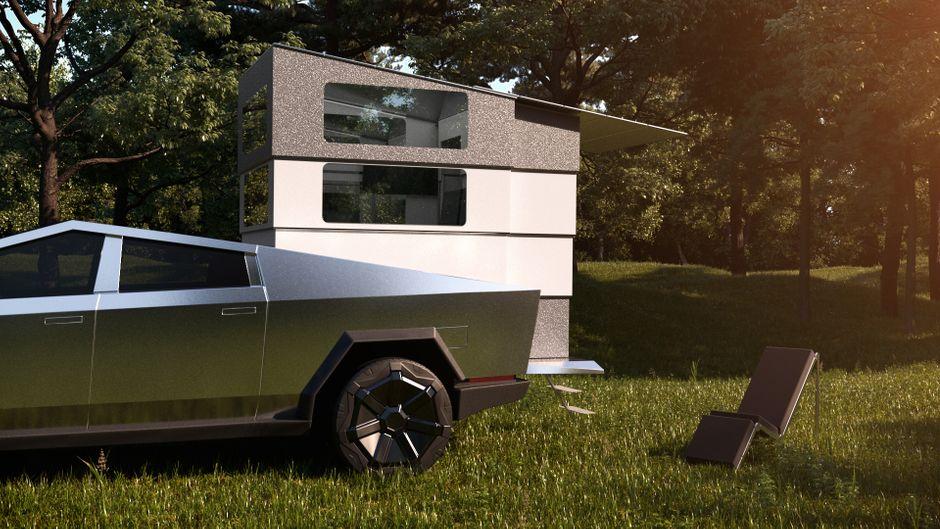 Der Auto-Cybertruck von Tesla mit dem Aufsatz Cyberlandr, der den Wagen zu einem Wohnmobil umfunktioniert.