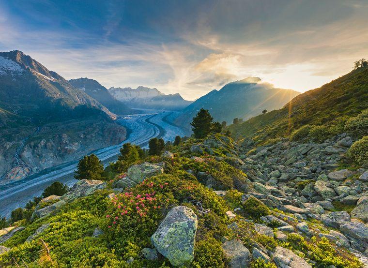 Sonnenuntergang am Grossen Aletschgletscher