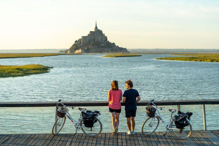Imposant: Ein Zwischenstopp der Radtour am Mont-Saint-Michel.
