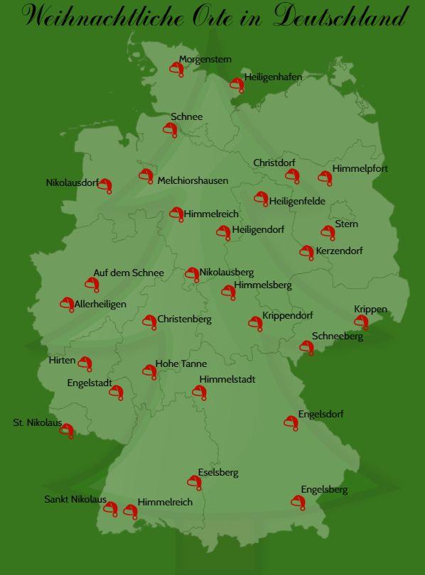 In Deutschland gibt's viele Orte, die weihnachtlich klingen.