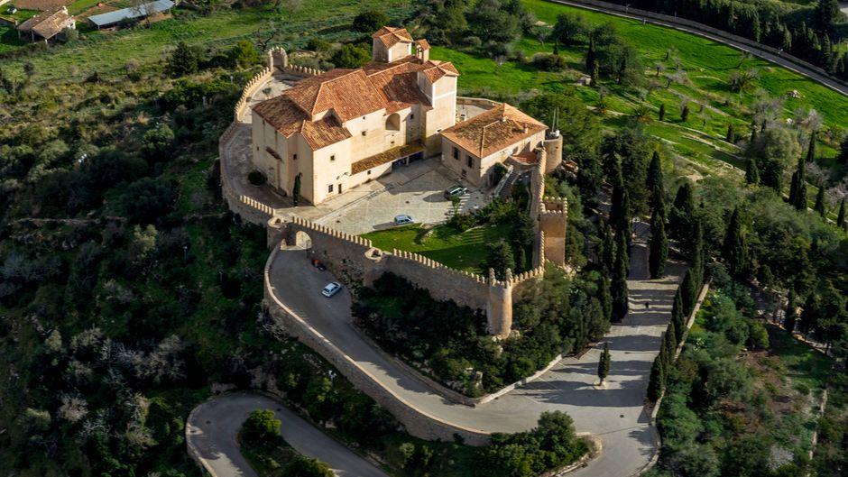 Luftbild, Santuari de Sant Salvador, Balearische Inseln, Spanien, Europa, Mallorca.