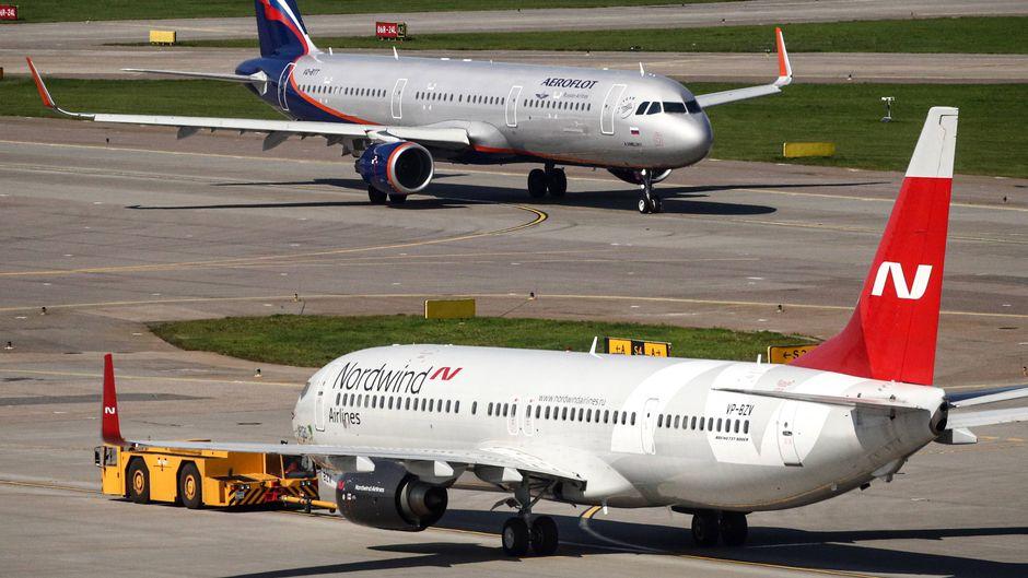 Flugzeug der Nordwind Airlines.