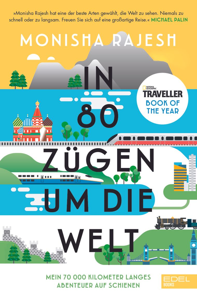 """Das Buchcover von """"In 80 Zügen um die Welt""""."""