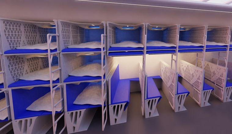 Vorschlag einer niederländischen Gruppe: Einklappbare Stockbetten.
