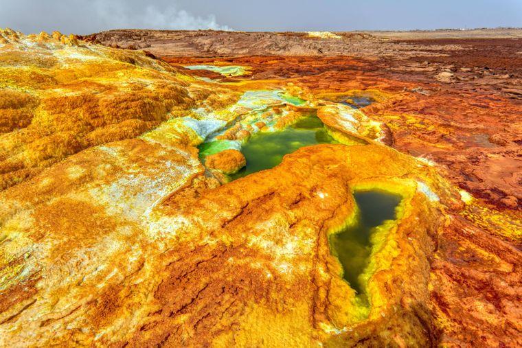 Dallol bringt ein breites Spektrum an Farben und Formen einer sonst extrem kargen Landschaft der Danakil-Senke hervor.