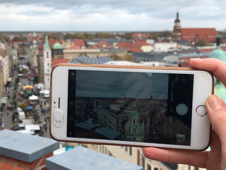 Beliebtes Foto-Motiv: Aussicht vom Spremberger Turm.