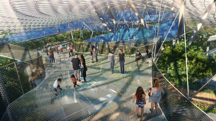Besucher auf Netzen im geplanten Canopy Park im Flughafen Singapur.