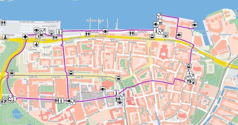 Eine Karte zeigt die Veranstaltungsorte des Hansetags.