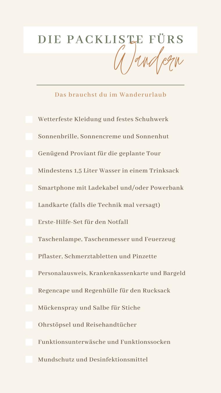 Mit unserer Packliste für deinen Wanderurlaub bist du gut gerüstet.