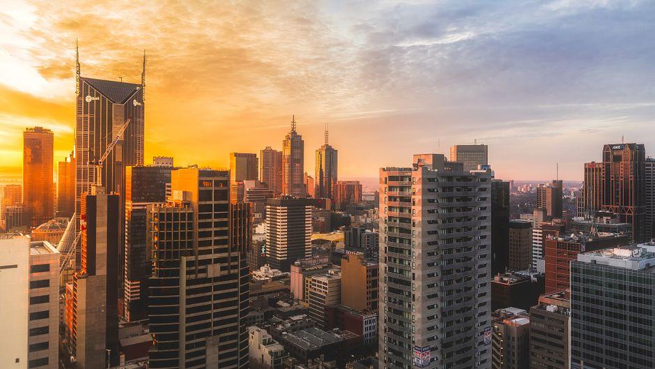 Blick auf die Skyline von Melbourne, die als lebenswerteste Stadt der Welt 2017 gewählt wurde.