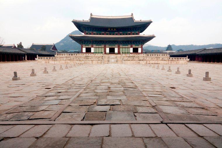 Coronavirus in Südkorea – menschenleere Touristenattraktion Gyeongbokgung-Palast.