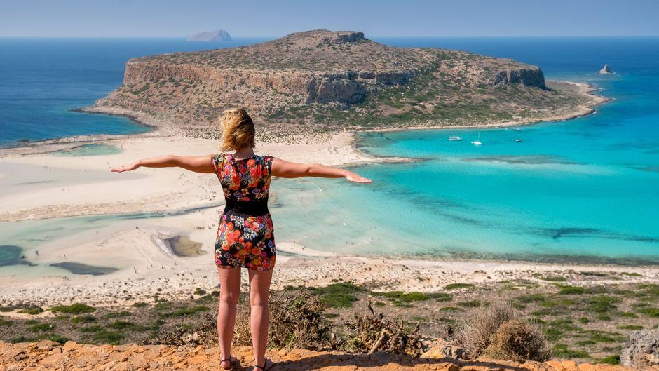 Blicke auf den Traumstrand Balos Beach auf Kreta.