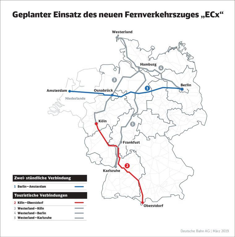 Auf diesen Strecken soll der ECx der Deutschen Bahn fahren