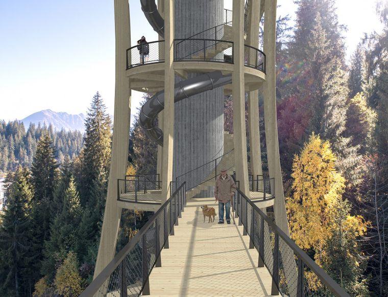 Ein Turm ist mit einer 73 Meter langen Rutsche geplant.