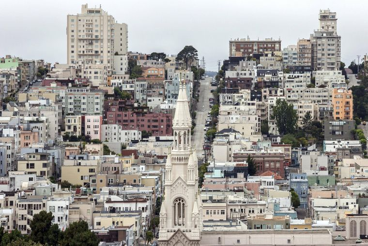 Die Filbert Street ist deutlich steiler als die bekanntere Lombard Street.