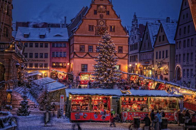 Der Weihnachtsmarkt in Rothenburg ob der Tauber.