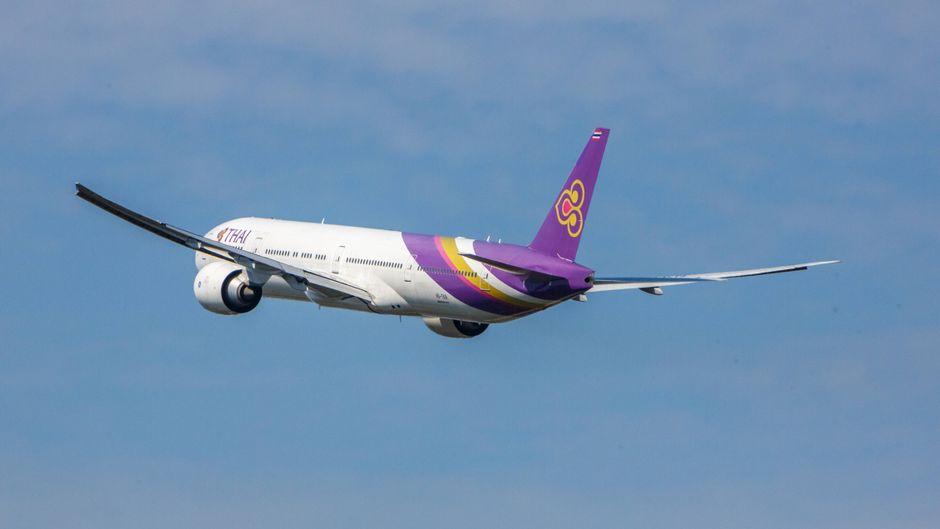 Ein Flugzeug von Thai Airways in der Luft.