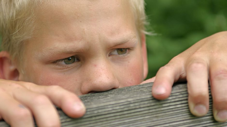 Junge schaut über einen Zaun.